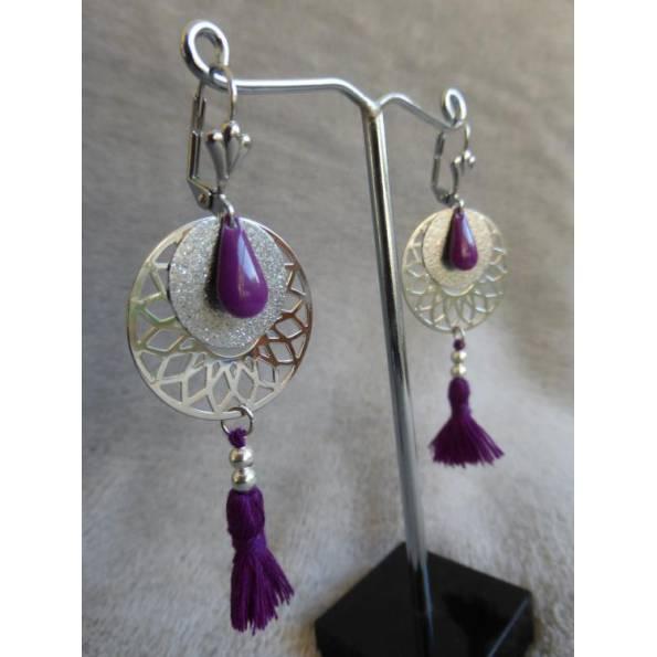 Boucles d'oreilles Kuwat violet