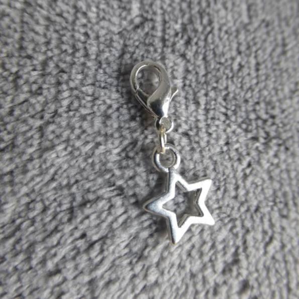 Mousqueton charms mini étoile évidée - thème nature