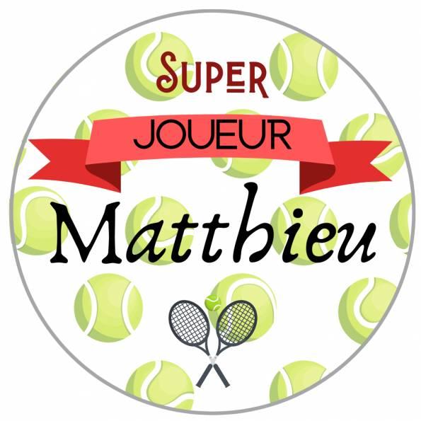 Super Joueur Tennis - Badge Loisirs Personnalisé