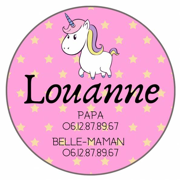 Téléphone Enfant Perdu Licorne - Badge Personnalisé