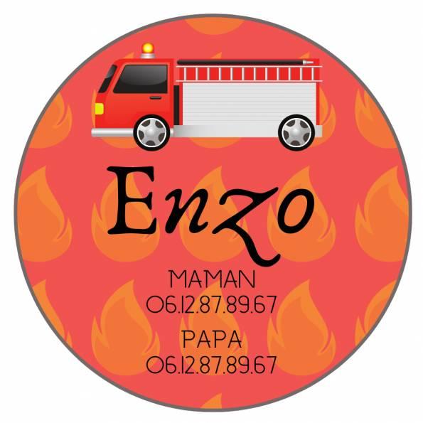 Téléphone Enfant Perdu Pompiers - Badge Personnalisé