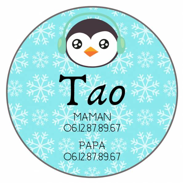 Téléphone Enfant Perdu Pingouin - Badge Personnalisé