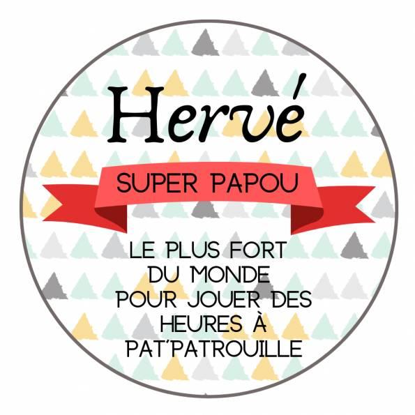 Super Papy - Papou - Badge Famille Personnalisé