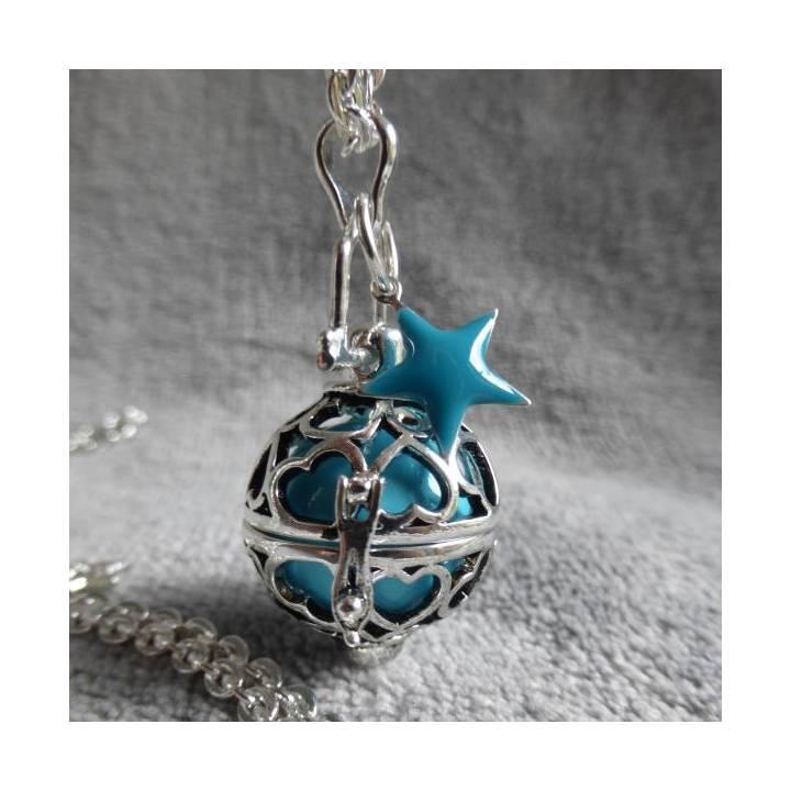 Bola de grossesse motif coeurs, avec bille turquoise et étoile