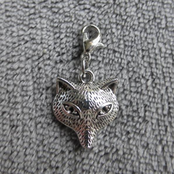Mousqueton charms tête de renard - thème animaux