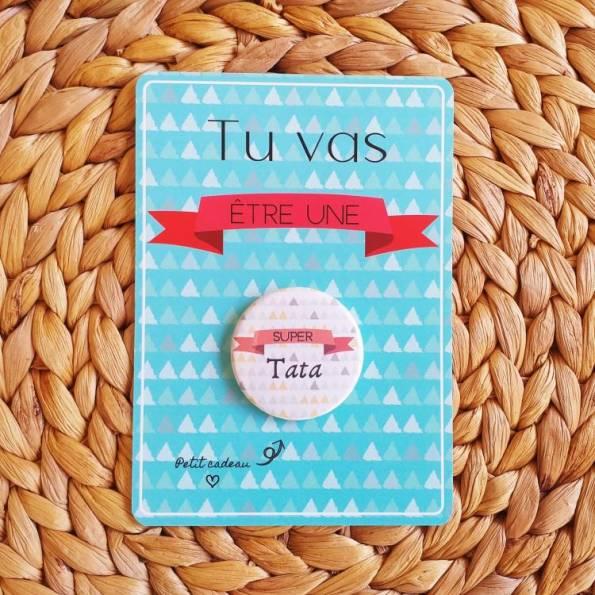 Super Tata - Badge + Carte Annonce Grossesse