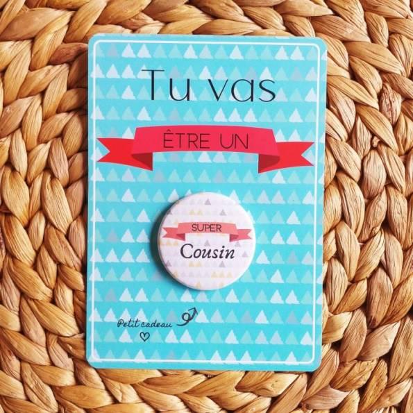 Super Cousin - Badge + Carte Annonce Grossesse