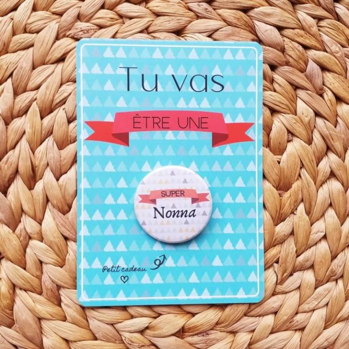 Super Nonna - Badge + Carte Annonce Grossesse