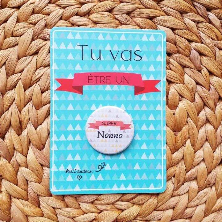 Super Nonno - Badge + Carte Annonce Grossesse