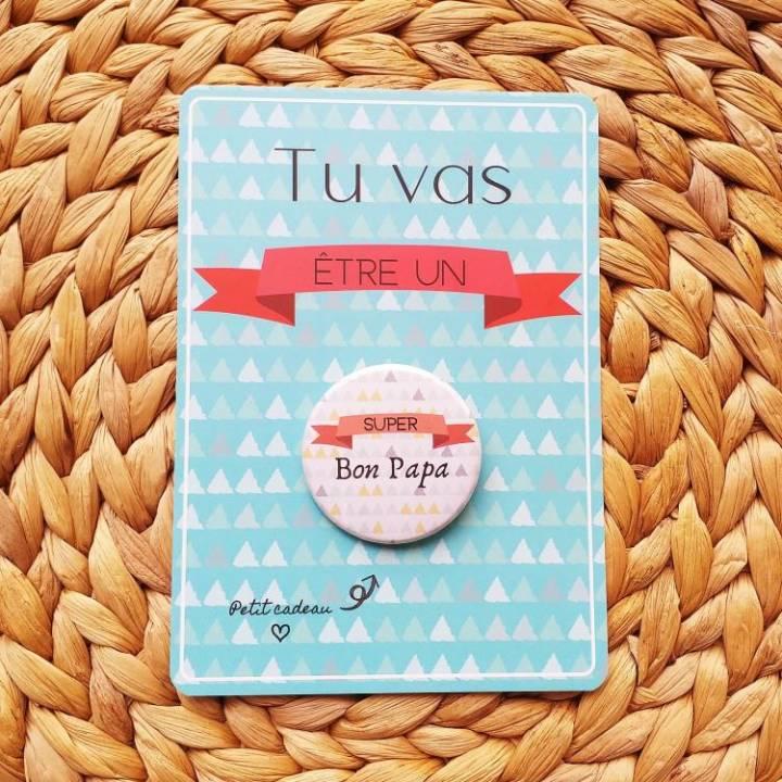 Super Bon Papa - Badge + Carte Annonce Grossesse