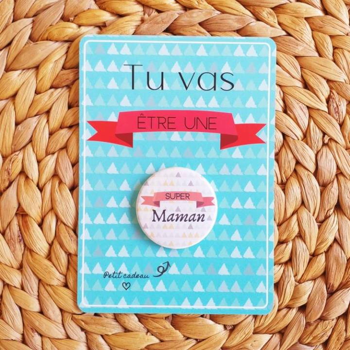 Super Maman - Badge + Carte Annonce Grossesse