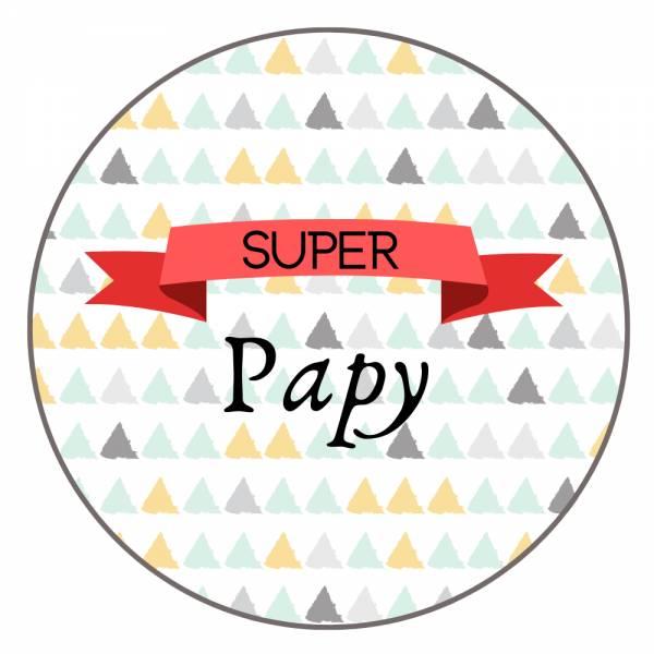 Carte Joyeux Anniversaire Et Badge Super Papy Idee Cadeau