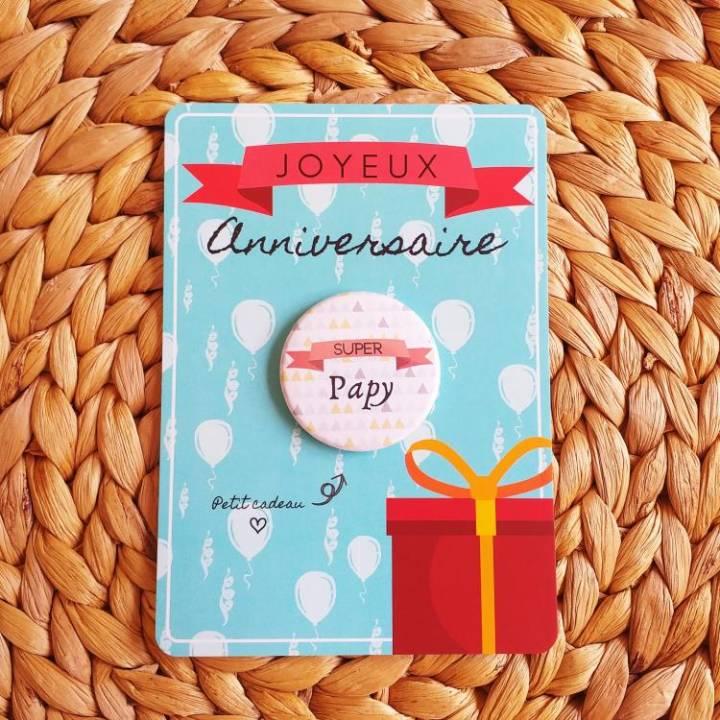 Super Papy - Badge + Carte Joyeux Anniversaire
