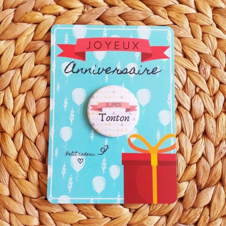 Super Tonton - Badge + Carte Joyeux Anniversaire