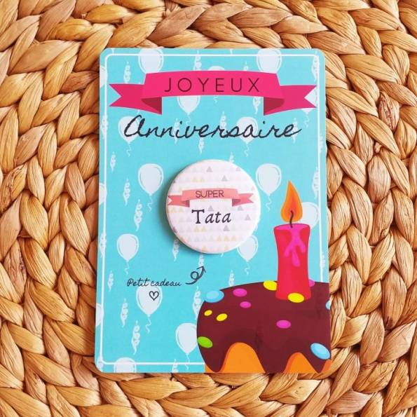 Super Tata - Badge + Carte Joyeux Anniversaire