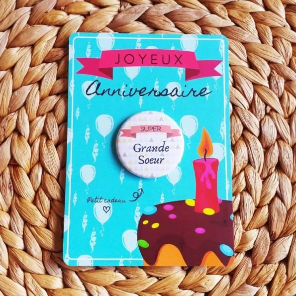 Super Grande Soeur - Badge + Carte Joyeux Anniversaire