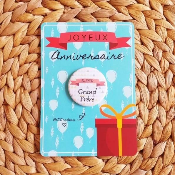 Super Grand Frère - Badge + Carte Joyeux Anniversaire