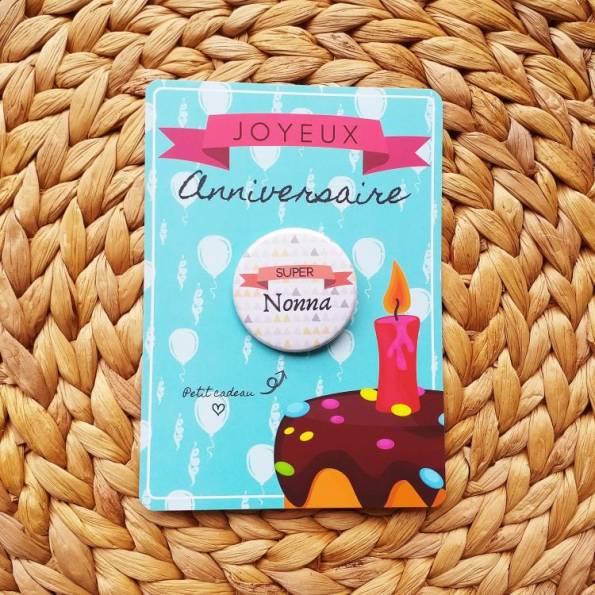 Super Nonna - Badge + Carte Joyeux Anniversaire