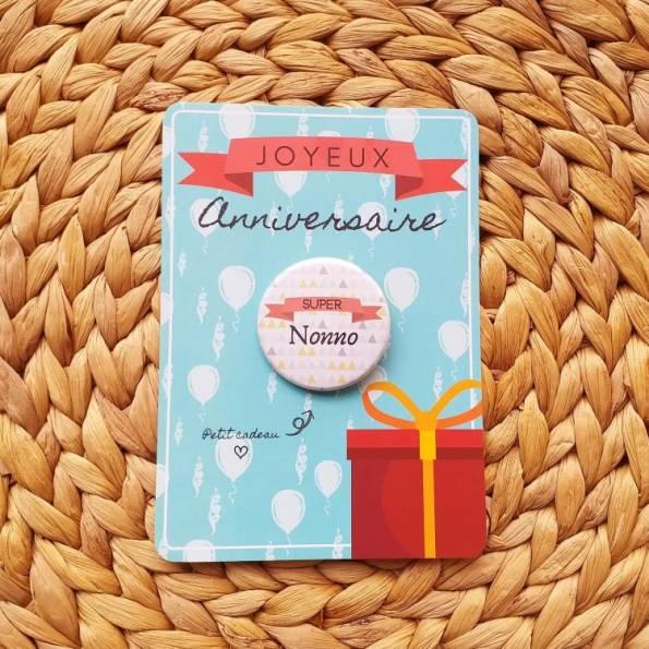 Super nonno - Badge + Carte Joyeux Anniversaire
