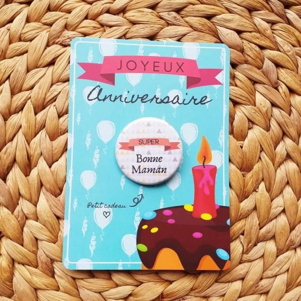 Super Bonne Maman - Badge + Carte Joyeux Anniversaire