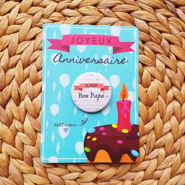 Super Bon Papa - Badge + Carte Joyeux Anniversaire