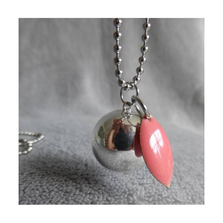 Bola de grossesse lisse argenté navette rose