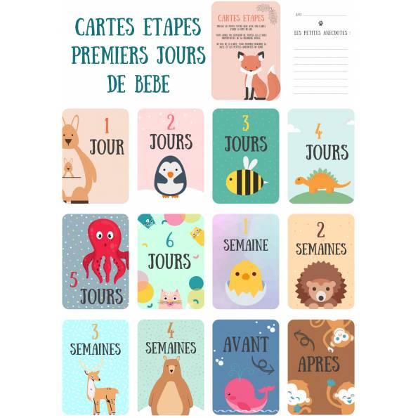 12 Cartes étapes - Les premiers jours de bébé - Thème animaux