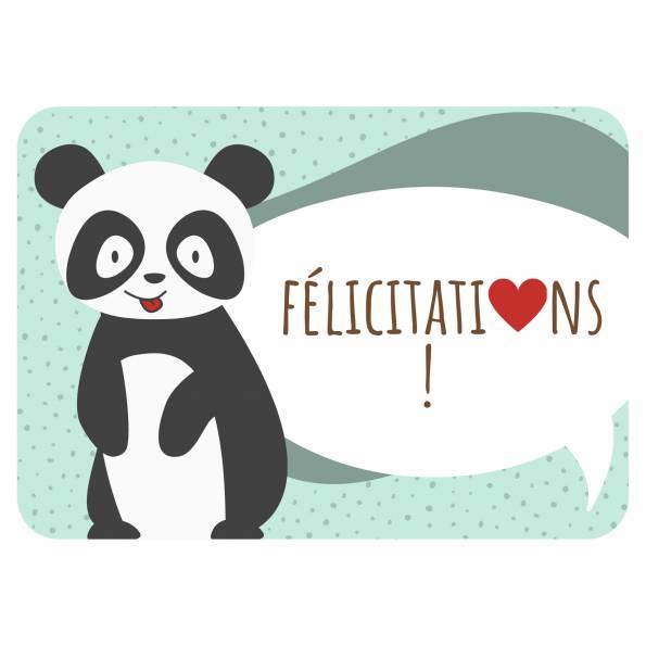 Félicitations - Panda et Coeur - Carte de Voeux