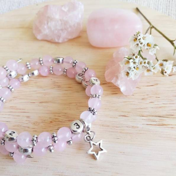 Bracelet d'allaitement quartz rose Elok