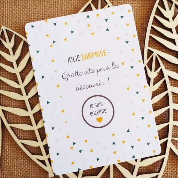 Je suis enceinte - Carte Annonce Grossesse à Gratter - Jolie Surprise