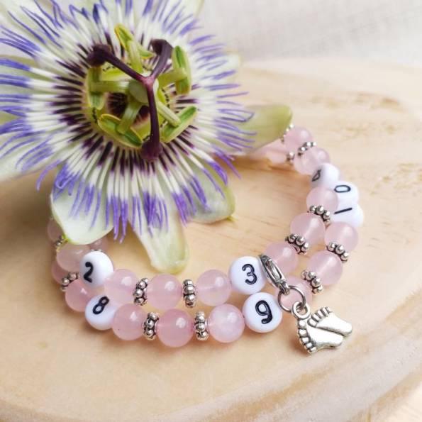 Bracelet d'allaitement quartz rose Roth °
