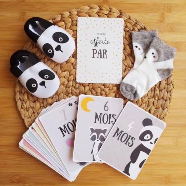 BOX Naissance Mixte - Panda Blanc, Gris et Noir
