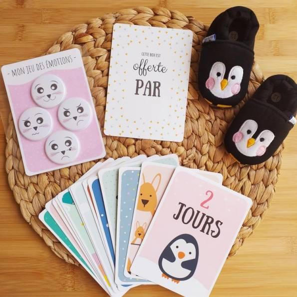 BOX Naissance Mixte - Pingouin Noir, Rose & Jaune