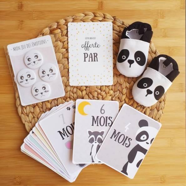 BOX Naissance Mixte - Panda - Cartes Etapes & Jeu des Emotions