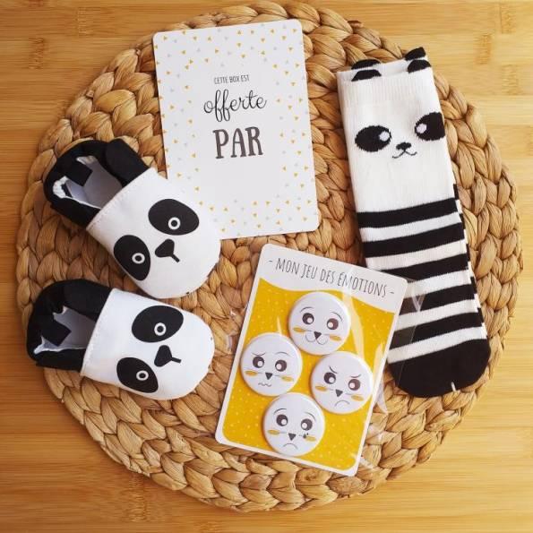 BOX Naissance Mixte - Panda - Chaussons & Jeu des Emotions