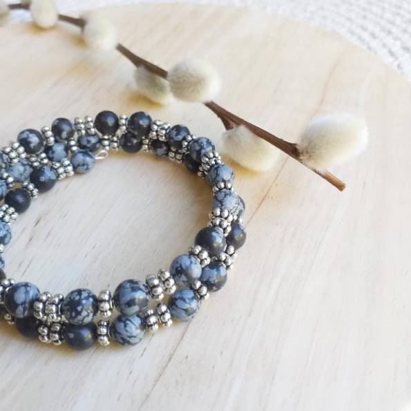 Bracelet Pierres Obsidienne Hang