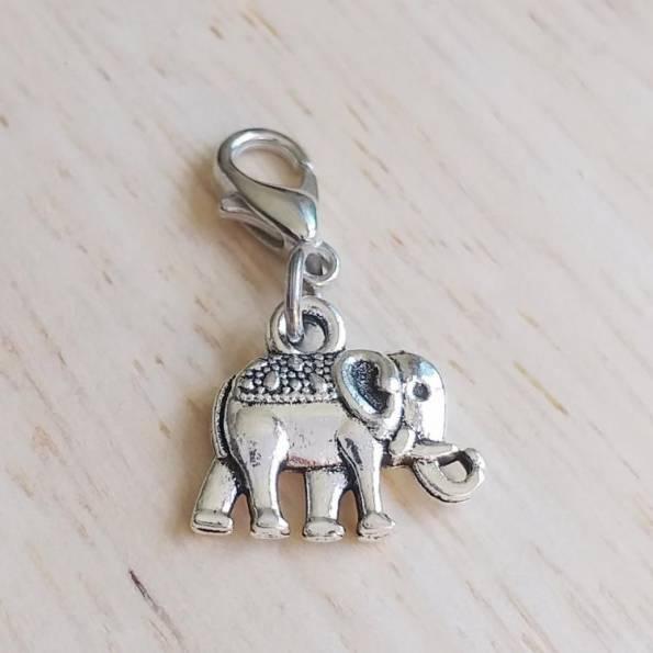 Mousqueton charms éléphant - thème animaux