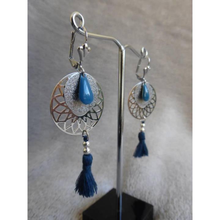 Boucles d'oreilles Kuwat bleu canard