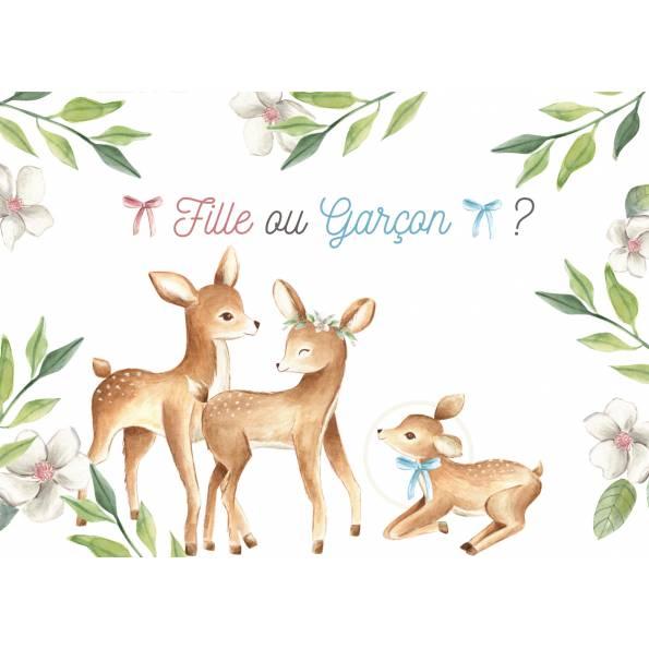 Carte Annonce Garçon à Gratter - Biche, Cerf et Faon - c'est un Garçon