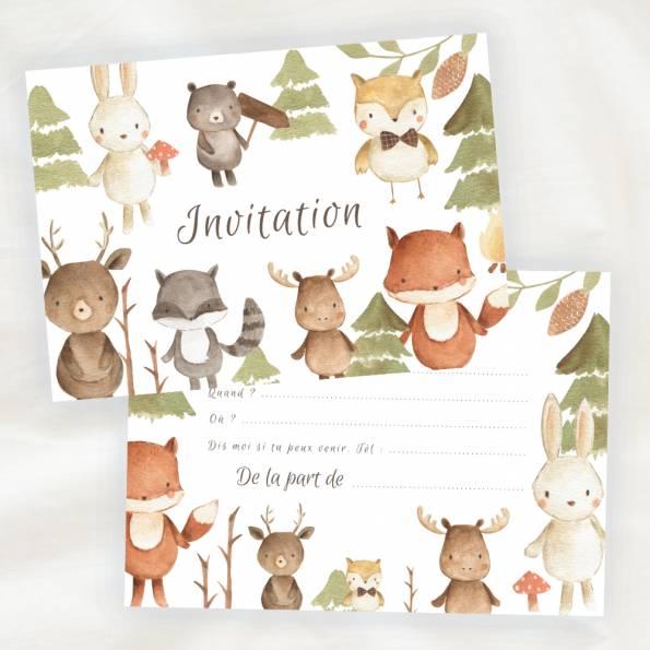 Lot de 8 cartes d'invitation anniversaire enfant - Mixte Fille ou Garçon - Animaux de la Jungle en Aquarelle