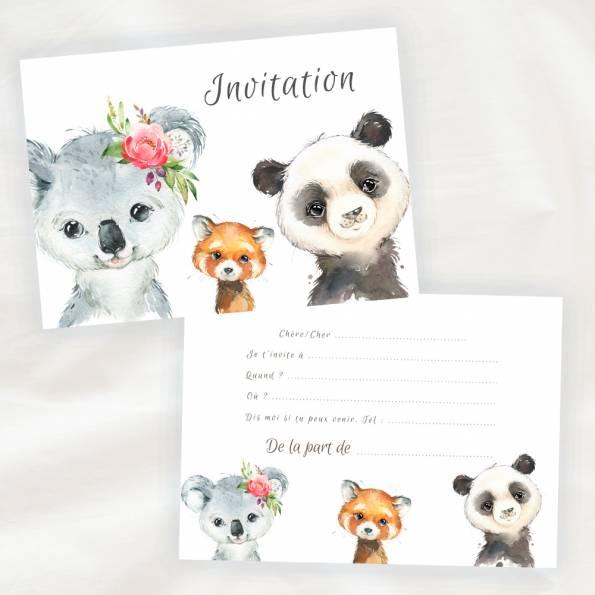 Lot de 8 cartes d'invitation anniversaire enfant - Mixte Fille ou Garçon - Animaux de la Foret en Aquarelle