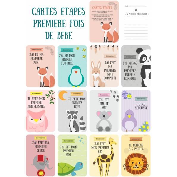 12 Cartes étapes - Les étapes clefs de la première année de bébé - Thème animaux