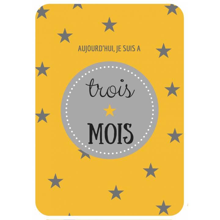 12 Cartes étapes - Grossesse - Thème étoile, Gris et jaune moutarde