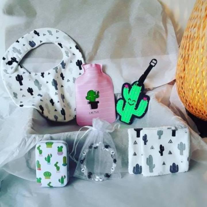 BOX Naissance Mixte - Cactus 3 - A Personnaliser (réf 19)