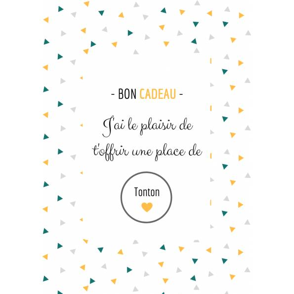 Carte Annonce Grossesse à Gratter - Tonton- Bon Cadeau