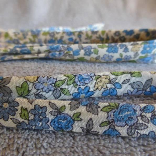 Ruban Liberty, en coton, modèle « Bleu petites fleurs »