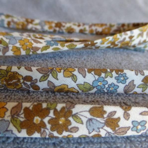 Ruban Liberty, en coton, modèle « Marron petites fleurs »