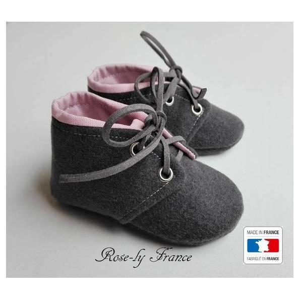 Chaussons bébé, en laine Gris et coton Rose - taille 3 mois