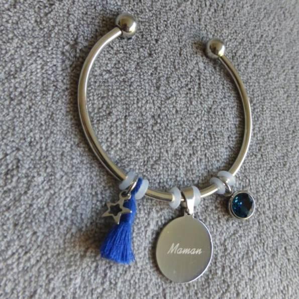 """Bracelet Médaille Gravée """"Maman"""""""
