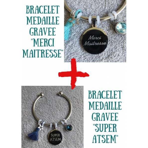 """Lot de 2 Bracelets Médaille Gravée """"Merci Maitresse"""" et """"Super ATSEM"""" - Couleurs au choix"""
